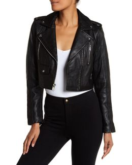 Leather Asymmetric Zip Cropped Moto Jacket