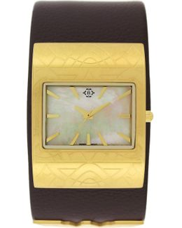Women's Wonder Woman Mother Of Pearl Leather Cuff Watch