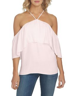 1. State Halter Neck Ruffle Blouse
