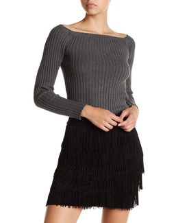 Off-the-shoulder Long Sleeve Knit Sweater
