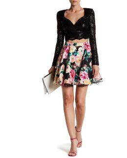 Sequin Lace Blouse & Floral Skirt Set