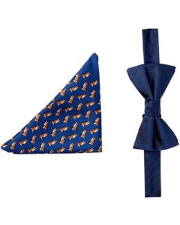 Fox & Herringbone Silk Bow Tie & Pocket Square Set