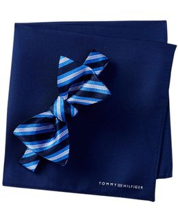 Silk Stripe Bow Tie & Pocket Square Set