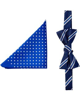 Stripe & Dot Silk Bow Tie & Pocket Square Set
