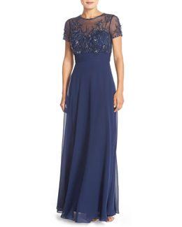 Embellished Mesh & Chiffon Gown