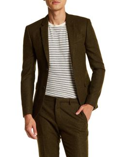 Green Two Button Notch Lapel Extra Trim Suit Separates Jacket