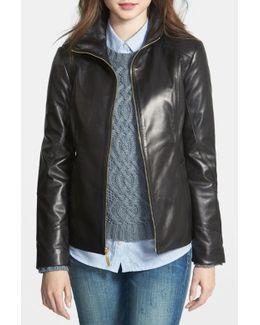 Stand Collar Genuine Leather Scuba Jacket (petite)