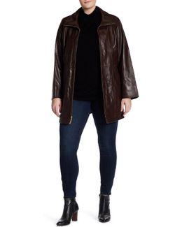 Lamb Leather Walking Coat (plus Size)