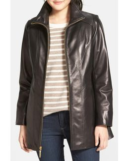 Genuine Leather A-line Coat
