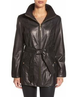 Belted Front Zip Leather Coat