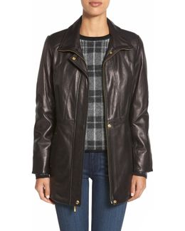 Zip Front Genuine Leather Coat