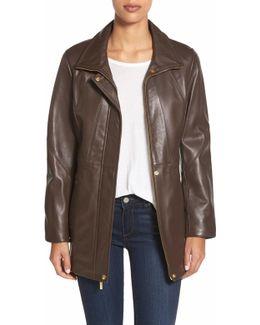 Zip Front Genuine Leather Coat