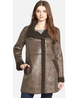 Asymmetrical Zip Faux Shearling Coat