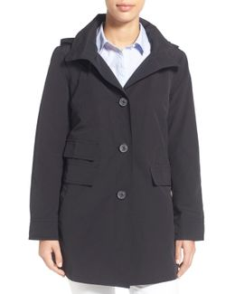 A-line Detachable Hood Sailcloth Coat