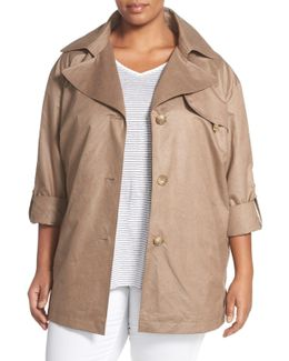 Roll Sleeve Trench Coat (plus Size)