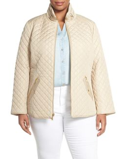 Zip Front Quilted Jacket (plus Size)