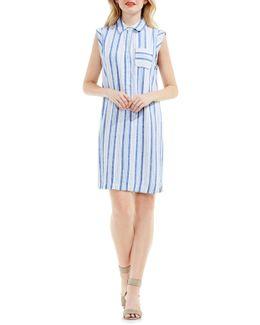 Stripe Linen Blend Shirtdress