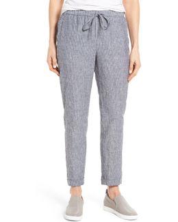 Stripe Linen Blend Jogger Pants