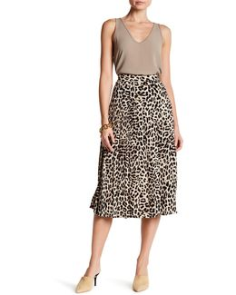 Pleated Leopard Song Skirt