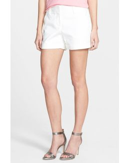Flat Front Cuff Stretch Cotton Shorts