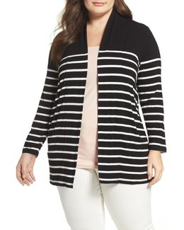 Stripe Cardigan (plus Size)