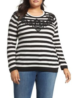 Lace Trim Stripe Sweater (plus Size)
