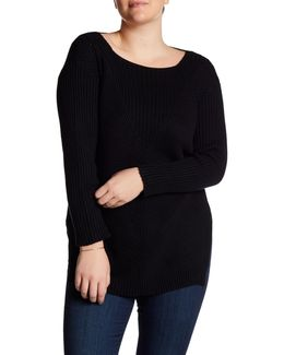 Long Sleeve Ribbed Sweater (plus Size)