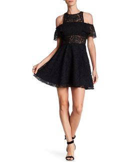 Sheer Flounce Lace Cold Shoulder Dress