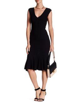 Knit Deep V Flounce Hem Midi Dress