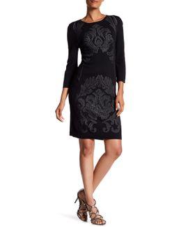 3/4 Length Sleeve Jacquard Sweater Dress