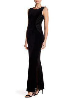 Embellished Velvet Long Gown