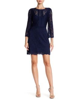 Bell Sleeve Stretch Lace Dress