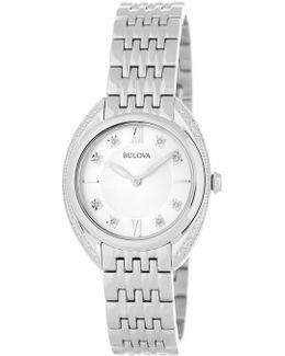 Women's Classic Diamond Silver Tone Bracelet Watch