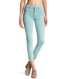 High Waisted Frayed Hem Skinny Jean