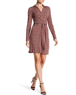 Long Sleeve Printed Front Wrap Shirt Dress