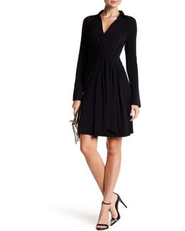Long Sleeve Solid Front Wrap Shirt Dress