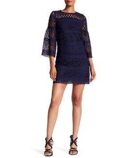 3/4 Sleeve Crochet Shift Dress