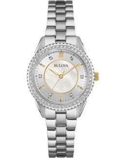Women's Mother Of Pearl Two-tone Bracelet Watch