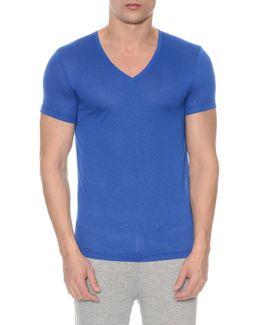 Mesh V-neck T-shirt