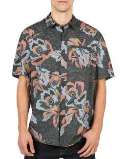 Men's Cubano Floral-print Cotton Pocket Shirt