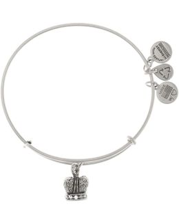 Crystal Detail King Crown Pendant Expandable Wire Bangle