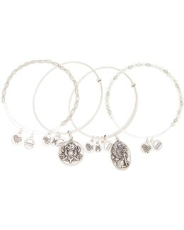 Lotus Peace Petals Beaded Extendable Wire Bangles - Set Of 4