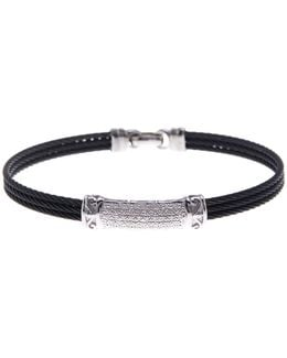18k White Gold Pave Diamond & Black Stainless Steel Bangle - 0.14 Ctw