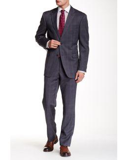 Grey Glenplaid Two Button Notch Lapel Wool Suit