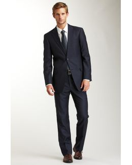 Nathan Blue Alternating Slim Stripe Two Button Suit