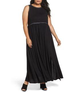 Gathered Waist Knit Maxi Dress