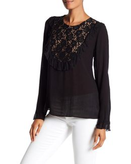 Ruffled Lace Bib Blouse