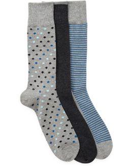 3-pair Printed Crew Socks