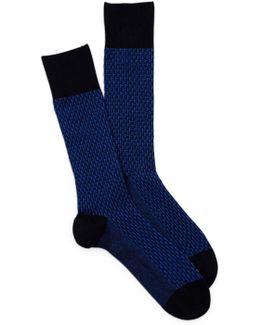 Printed Textured Crew Socks