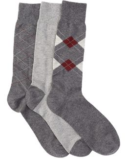 Argyle & Stripe Crew Socks - Pack Of 3